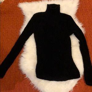 Ralph Lauren Black Fuzzy Turtleneck Sweater